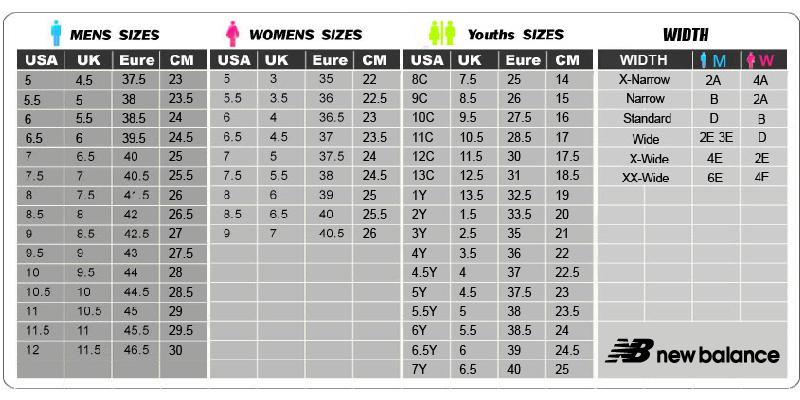 new balance size chart australia